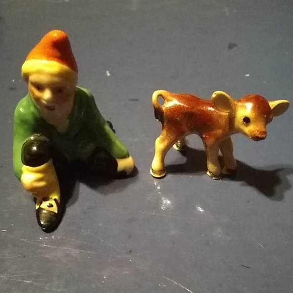 Vintage Other - Vintage Miniature MZ Ireland gnome & miniature cow